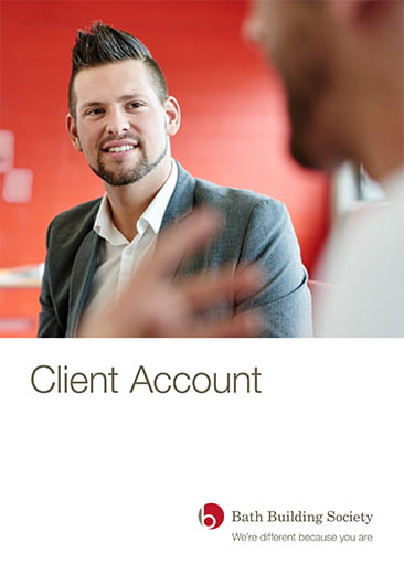 Image of front cover of Client Account publication by Bath Building Society including logo. photo of man looking at another person out of focus.