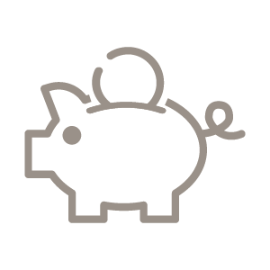 Icon of a piggy bank with coin going in the top