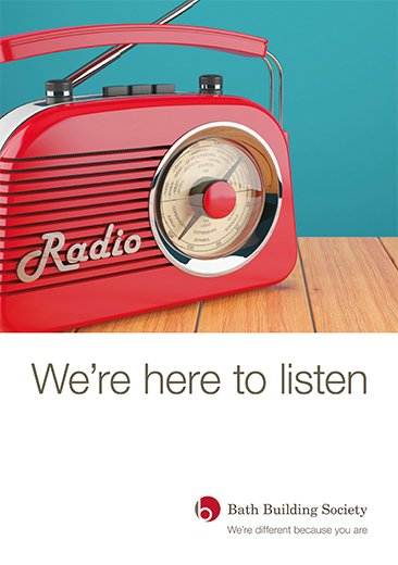 Image of front cover of We're here to listen publication by Bath Building Society including logo. image of old style radio in red.