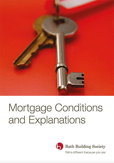 Image of front cover of Mortgage Conditions and Explanations publication by Bath Building Society including logo. Image shows set of keys on red background.