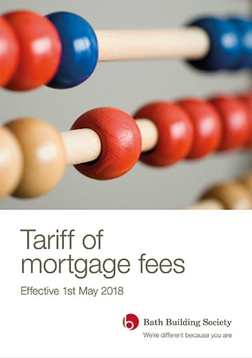 Image of the front page of Tariff of mortgage fees publication by Bath Building Society including logo. Shows close up image of abacus