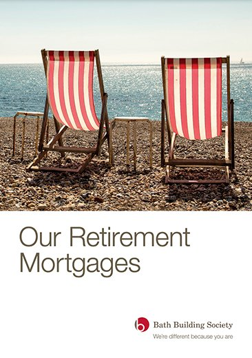 front cover screenshot of publication called our retirement mortgages and bath building society logo. Deck chairs on pebble beach.